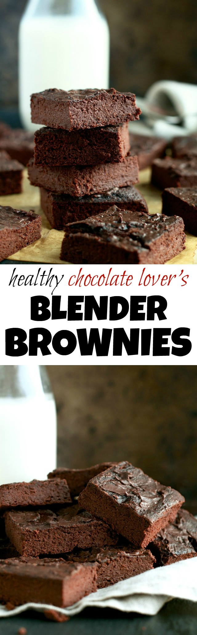 These Healthy Chocolate Lover's Blender Brownies are so fudgy, moist, and chocolatey, that you'd never be able to tell they're made with NO flour, NO butter, and NO oil! | runningwithspoons.com #vegan #paleo #glutenfree #brownies