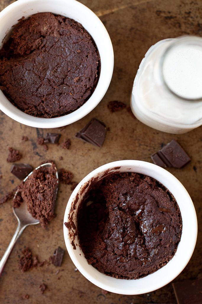 A top view of two healthy two minute brownies.