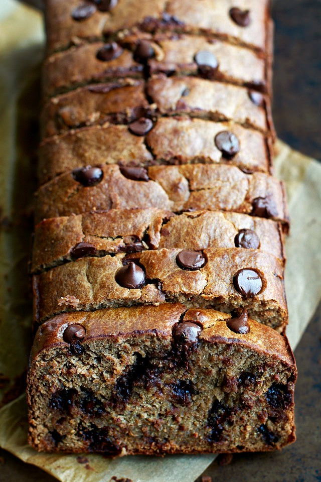 This Flourless Chocolate Chip Banana Bread is made with NO flour, butter, or oil, but so soft, tender, and flavourful that you'd never be able to tell! | runningwithspoons.com