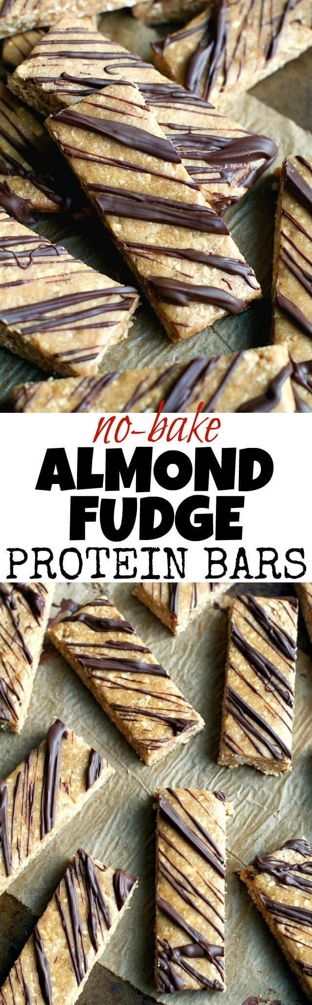 Give store-bought protein bars a run for their money with these soft and fudgy No Bake Almond Fudge Protein Bars! They're gluten-free, refined-sugar-free, vegan, and make a delicious healthy snack! | runningwithspoons.com #healthy #snack #recipe