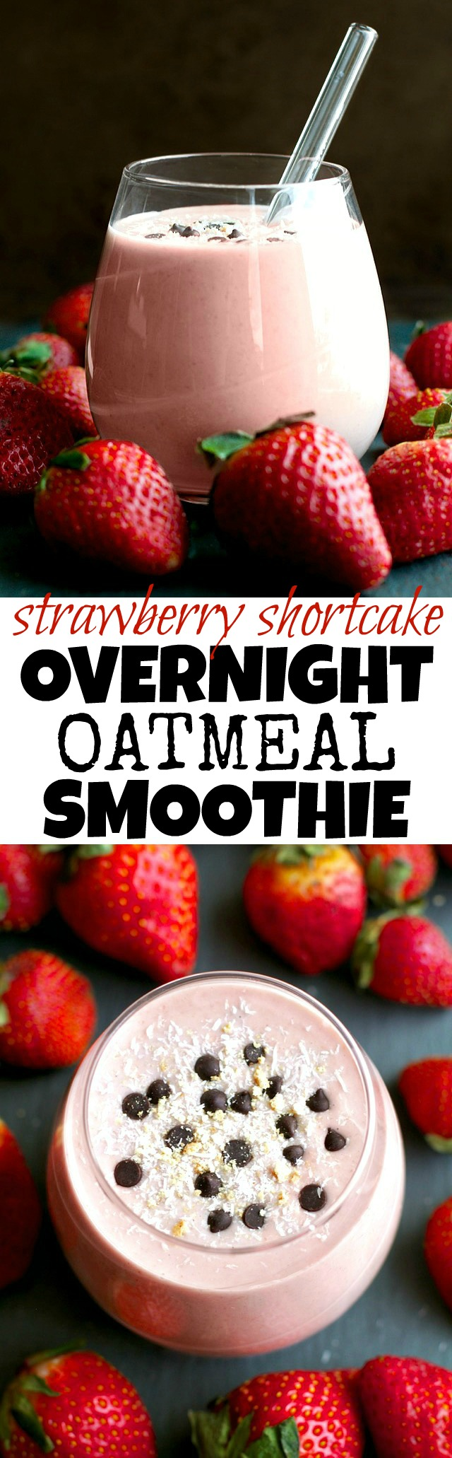 You've never had oatmeal like this before! This thick and creamy Strawberry Shortcake Overnight Oatmeal Smoothie combines that stick-to-your-ribs feeling of a bowl of oats with the silky smooth texture of a smoothie! | runningwithspoons.com #vegan #glutenfree #SilkUnsweetened #ad
