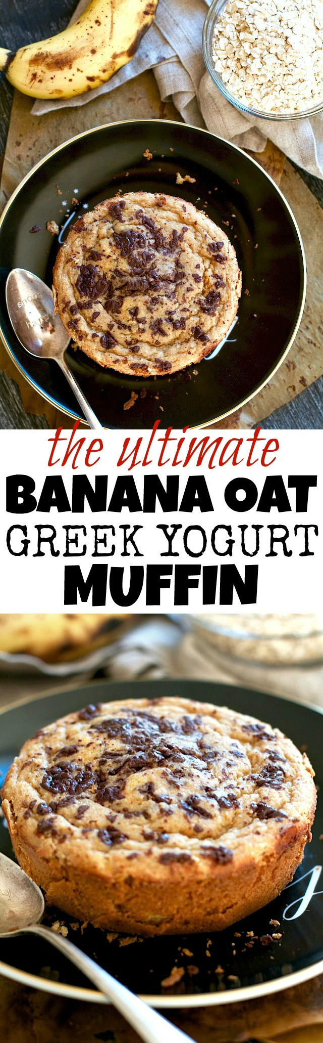 Enjoy a healthy muffin the size of your face with this Ultimate Banana Oat Greek Yogurt Muffin! It's made without any flour or oil, but so soft and tender that you'd never guess it! The perfect gluten-free breakfast or snack! | runningwithspoons.com #healthy #muffin #breakfast #recipe