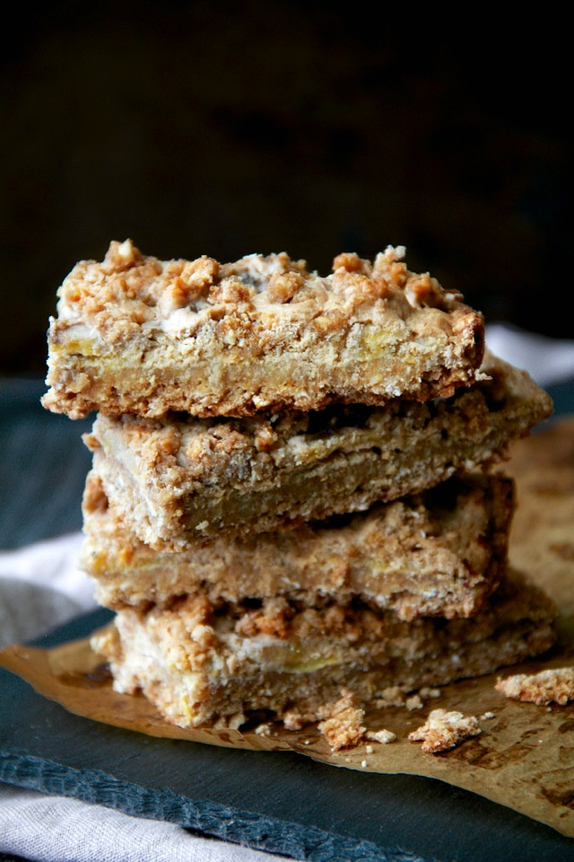 These soft-baked Greek Yogurt Banana Oatmeal Bars are gluten-free, refined-sugar-free, and made without any flour, butter or oil! A deliciously healthy breakfast or snack bar!   runningwithspoons.com #recipe #glutenfree #flourless
