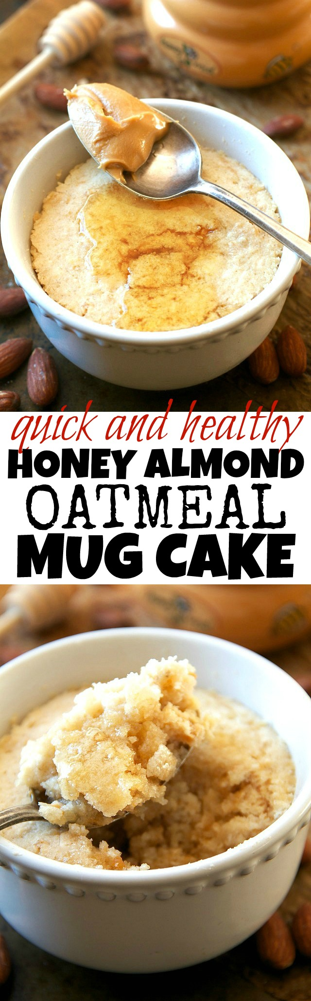 Honey Almond Oatmeal Mug Cake | running with spoons