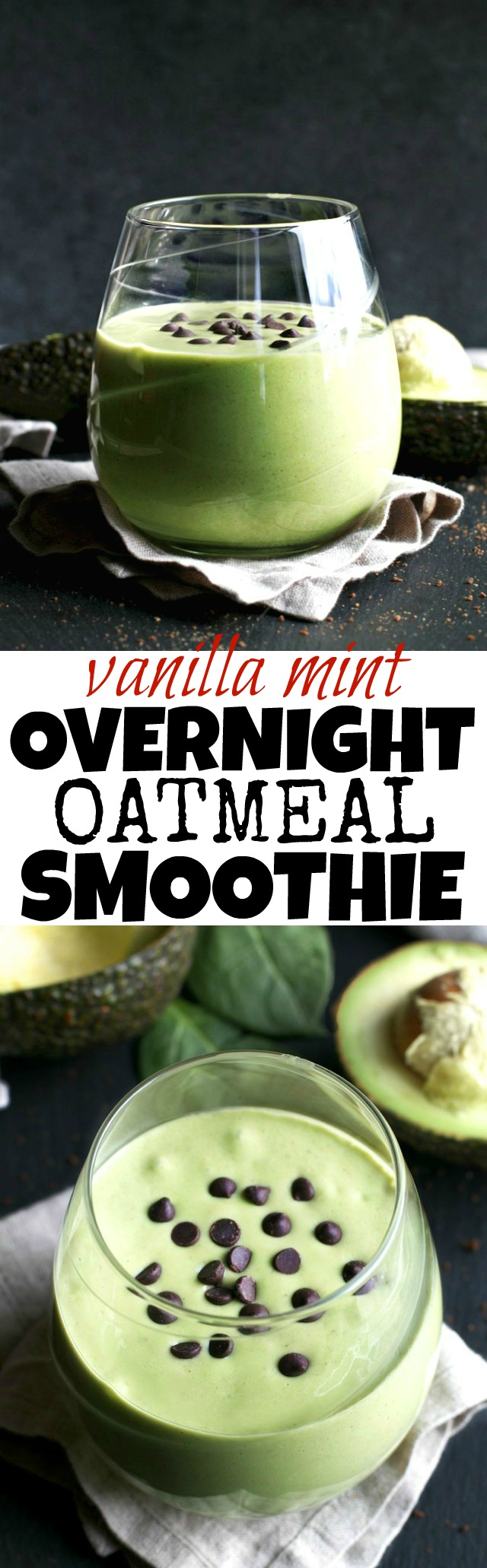 Getting those greens in is super easy with this deliciously creamy Vanilla Mint Overnight Oatmeal Smoothie! | runningwithspoons.com #vegan #glutenfree #healthy #recipe