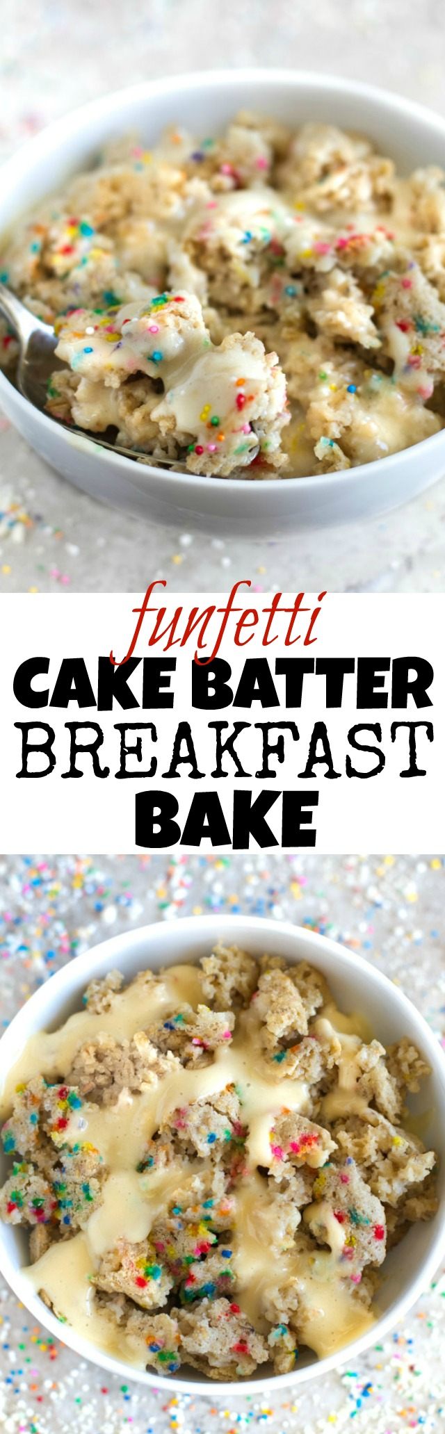 FUN and DELICIOUS! This healthy Funfetti Cake Batter Breakfast Bake tastes like dessert but is made without any flour, butter, oil, or refined sugar! Recipe via runningwithspoons.com #vegan #glutenfree #birthday