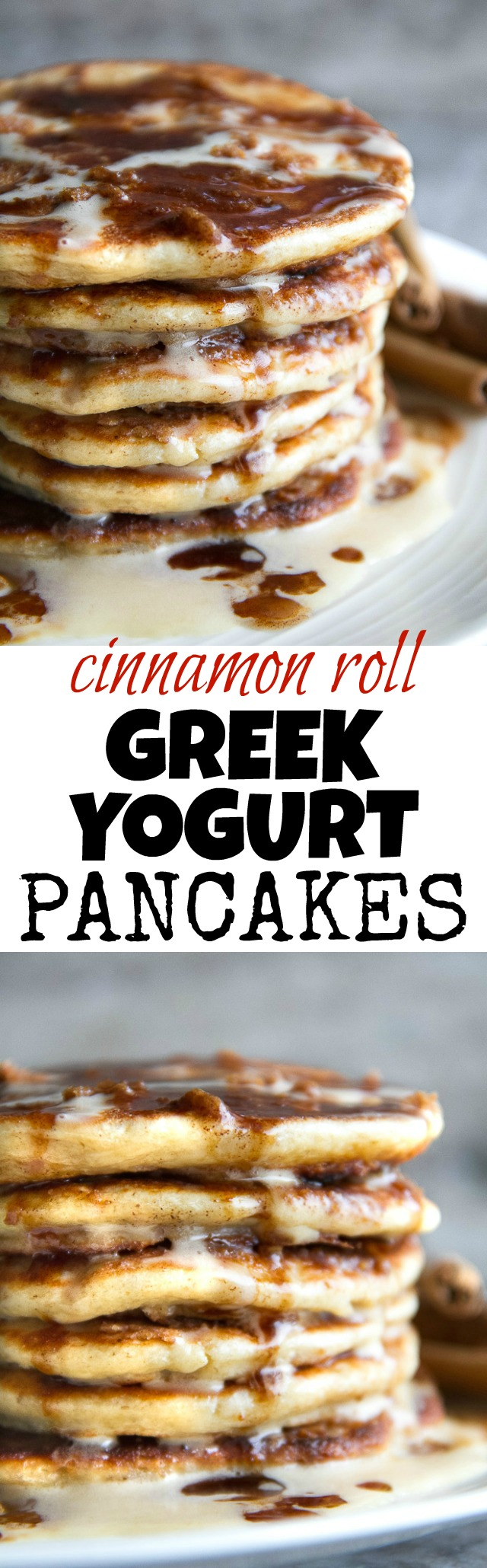 Cinnamon Roll Greek Yogurt Pancakes - these DELICIOUS light and fluffy pancakes taste just like a warm cinnamon roll and will keep you satisfied all morning with over 20g of whole food protein!   runningwithspoons.com #glutenfree #healthy #breakfast