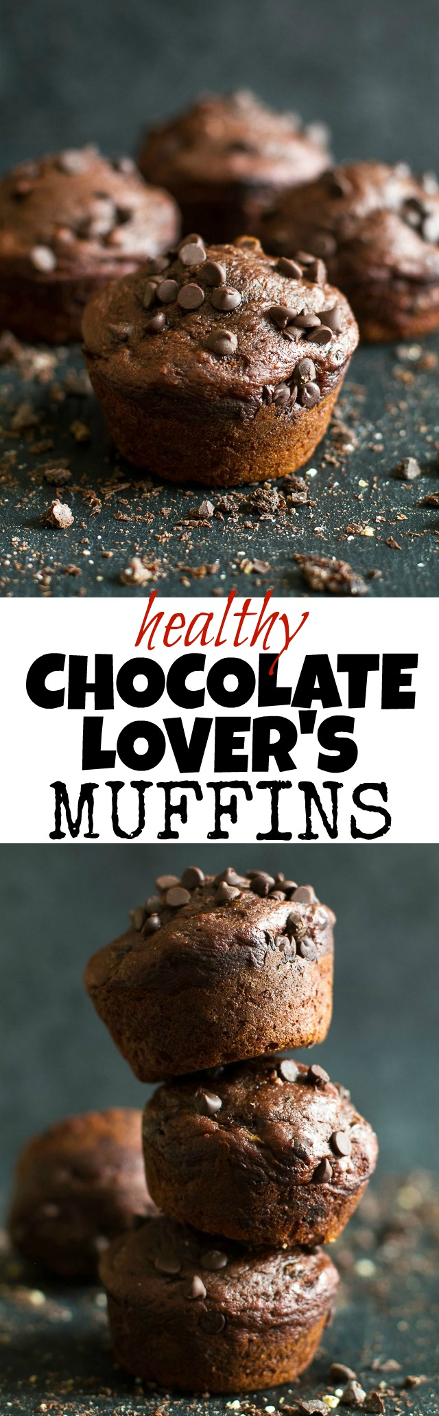 These Healthy Chocolate Lover's Muffins are so tender and flavorful that you'd never guess they're made without any butter, oil, or refined sugar. A healthy and DELICIOUS way to satisfy those chocolate cravings! | runningwithspoons.com #recipe #desserts