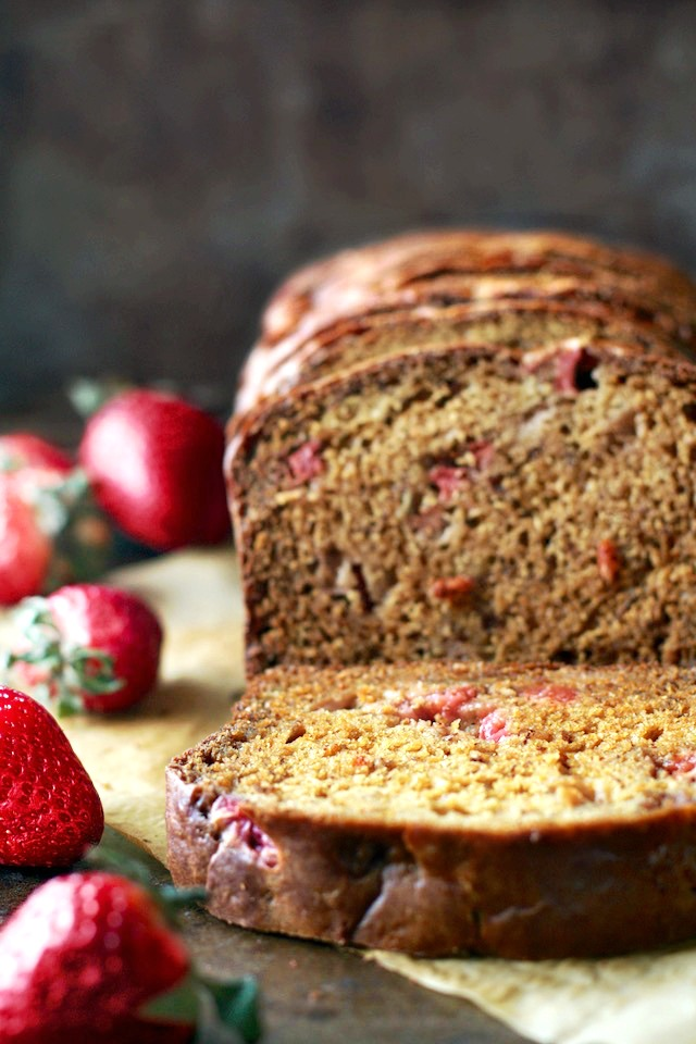 Strawberry Greek Yogurt Banana Bread | running with spoons