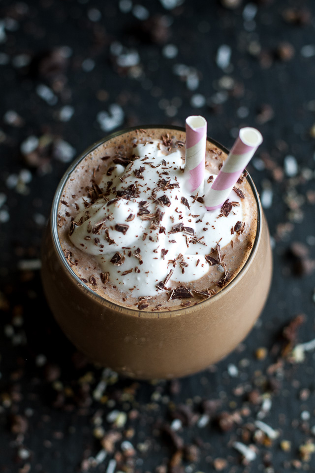 Frozen Hot Chocolate Breakfast Smoothie | running with spoons
