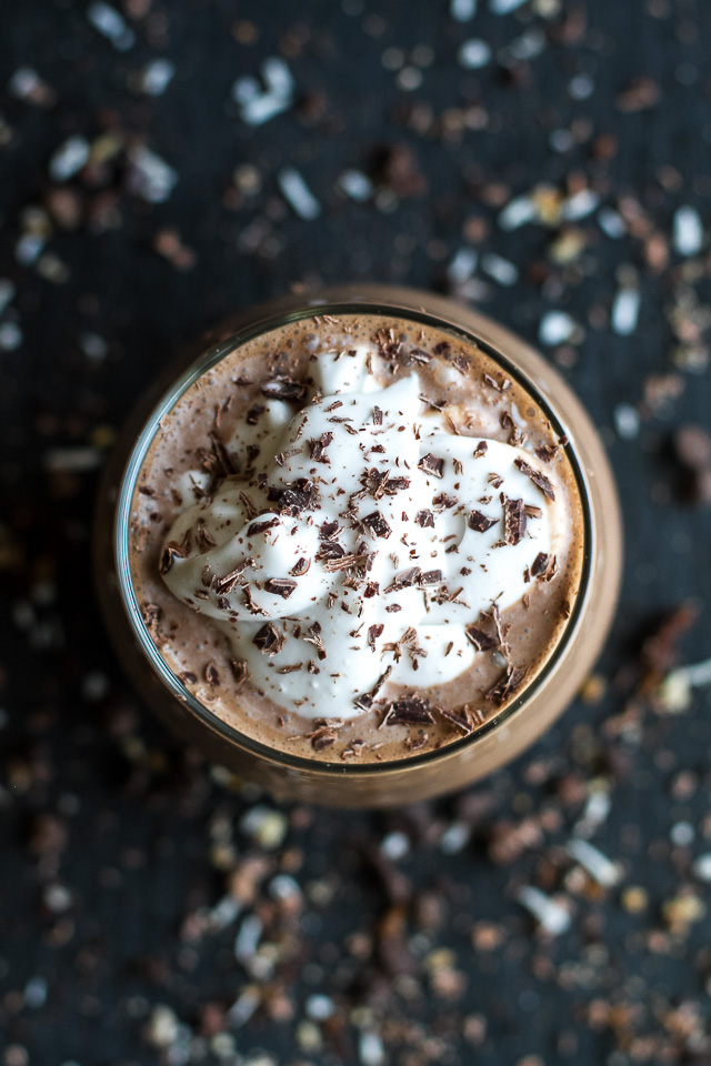 Frozen Hot Chocolate Breakfast Smoothie -- cool, creamy, and sure to keep you satisfied for hours! This delicious vegan smoothie is nutritious enough to enjoy for breakfast and decadent enough to crave for dessert   runningwithspoons.com #recipe #healthy