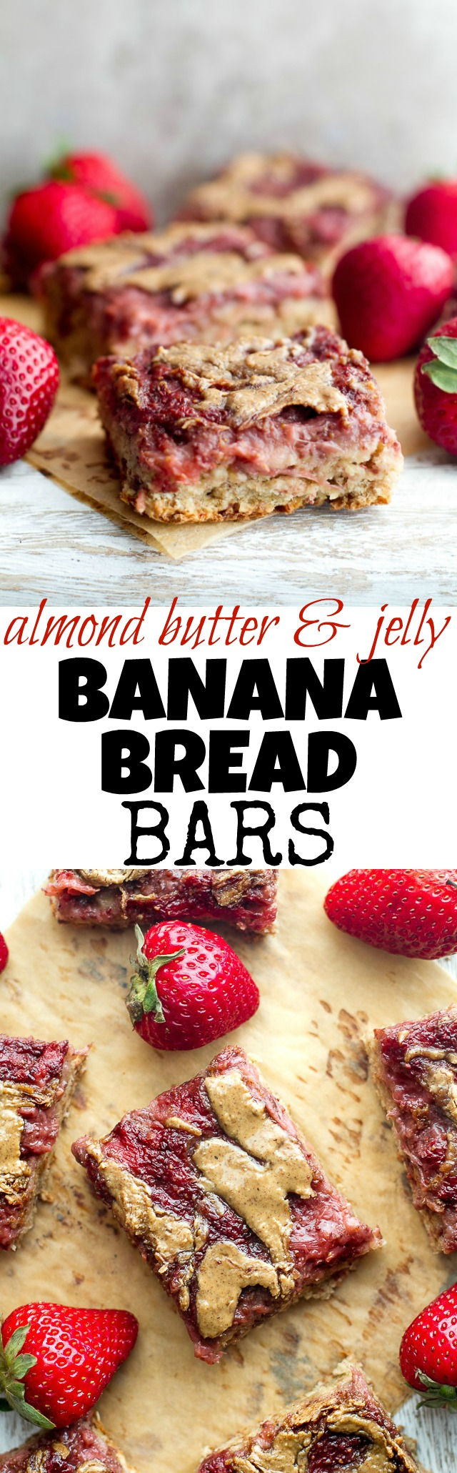 These DELICIOUS Almond Butter and Jelly Banana Bread Bars are SO soft, tender, and flavorful that you'd never believe they're made without any flour, oil, or refined sugar! | runningwithspoons.com #vegan #glutenfree #healthy #recipe
