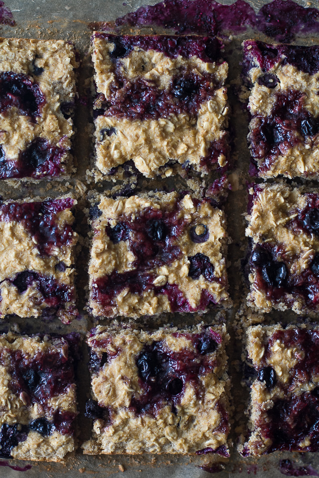 Double Blueberry Muffin Bars - the light and fluffy texture of a muffin in an easy-to-make vegan and gluten-free bar that's perfect as a breakfast or snack! | runningwithspoons.com #recipe #healthy