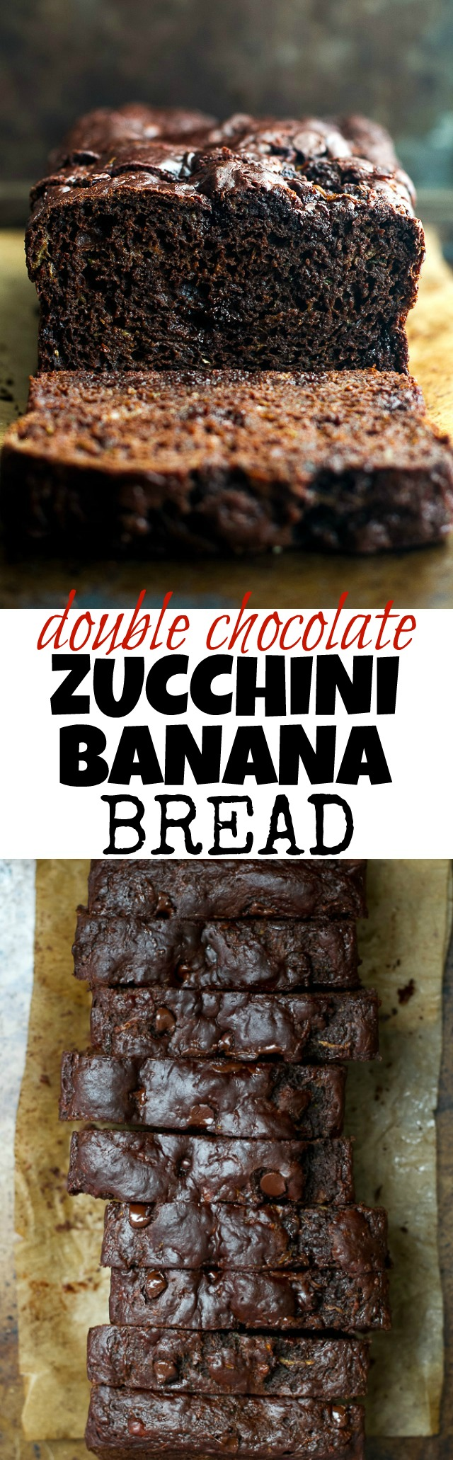 Double Chocolate Zucchini Banana Bread - zucchini, bananas, and Greek yogurt keep this loaf extra soft without the need for any added butter or oil! This bread is so tender and flavourful, you'd never guess it's healthy! | runningwithspoons.com #recipe #desserts