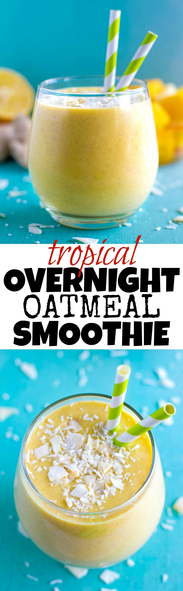 Tropical Overnight Oatmeal Smoothie - the mouthwatering flavours of mango, pineapple, and coconut in a refreshing gluten-free and vegan smoothie that makes a perfect breakfast or snack! | runningwithspoons.com #recipe #healthy