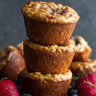healthy almond butter and jelly muffins