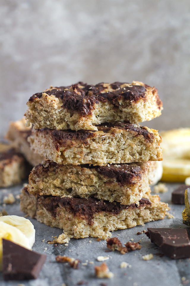 Chocolate Swirl Banana Oat Breakfast Bars - light and fluffy banana oat bars topped with a fudgy chocolate swirl that's healthy enough to enjoy for breakfast! | runningwithspoons.com #recipe #vegan #glutenfree