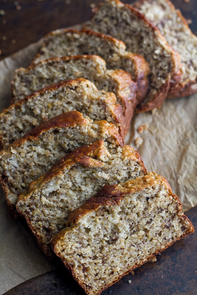 Sliced Greek Yogurt Banana Oat Bread laid out on a baking pan.
