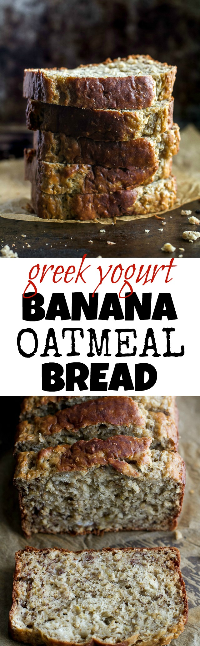 Greek Yogurt Banana Oat Bread - so soft and tender that you'd never be able to tell it's made without any butter or oil. This recipe is a great healthier alternative to a traditional favourite | runningwithspoons.com