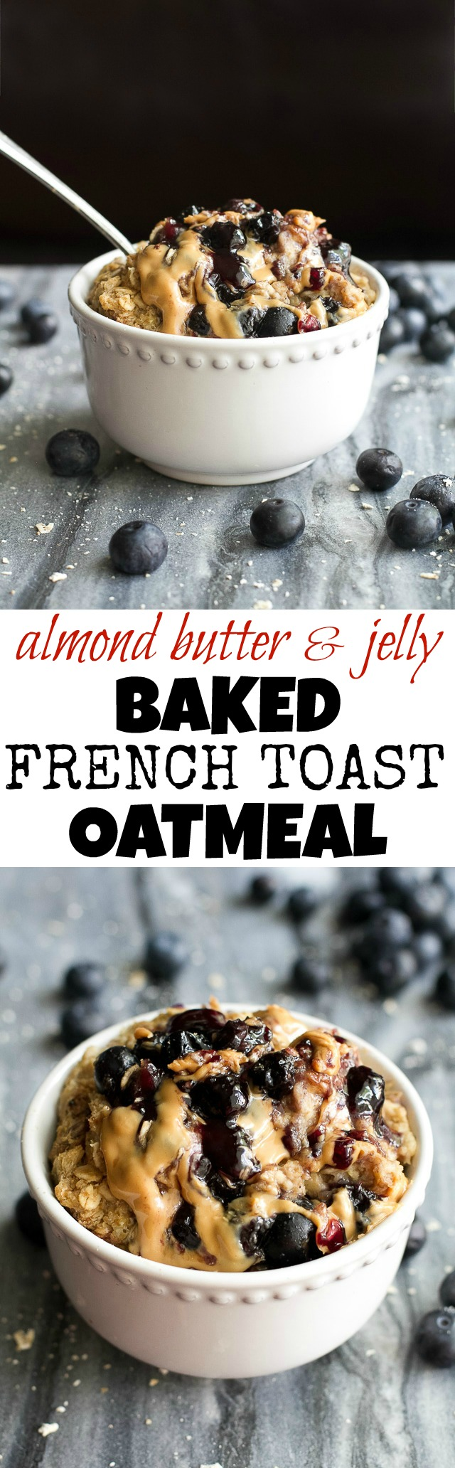 Baked AB&J French Toast Oatmeal - guaranteed to get you out of bed in the morning with it's soft, fluffy, and slightly ooey, gooey texture! This recipe is vegan, easily made gluten-free, and loaded with AB&J (or PB&J) flavour in every bite! | runningwithspoons.com