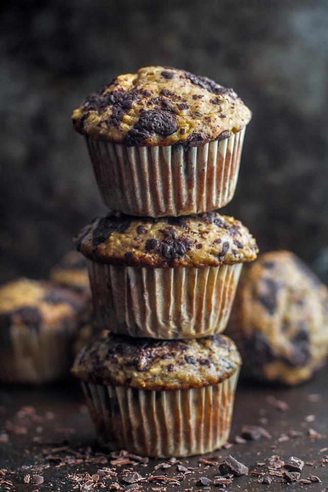 Dark Chocolate Blueberry Banana Oat Muffins Running With