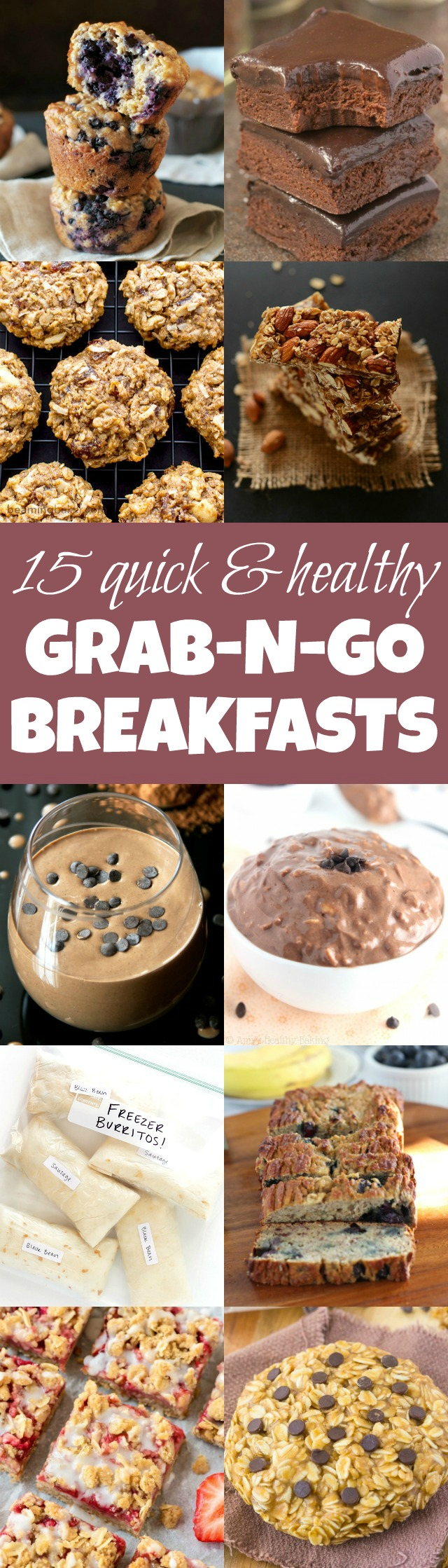 No time for breakfast? No problem!  You won't have to miss out on the BEST meal of the day with these quick and healthy breakfast recipes that you can literally grab on your way out the door! | runningwithspoons.com