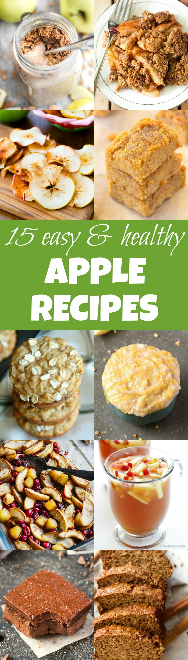 15 Easy & Healthy Apple Recipes! With something for everyone, whether you're looking for something gluten-free, vegan, paleo, or refined sugar free | runningwithspoons.com
