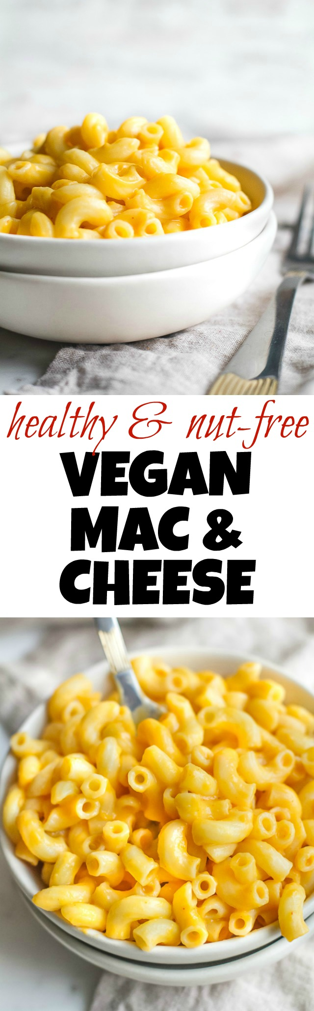 A vegan mac & cheese that's smooth, creamy, nut-free, and made with simple healthy ingredients! The versatile cheesy sauce tastes and feels so authentic that it's guaranteed to be loved by vegans and non-vegans alike. Suitable for those following dairy-free, nut-free, gluten-free, vegan, and paleo diets. | runningwithspoons.com