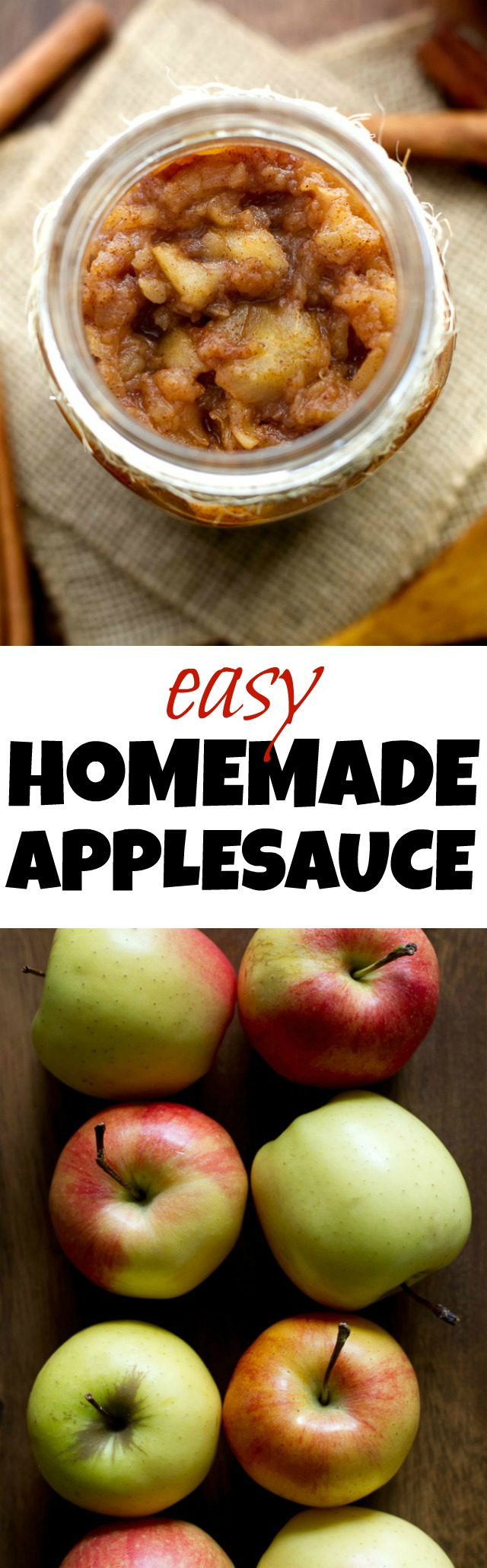Homemade applesauce that's so delicious and easy to make, you'll never want to buy store-bought applesauce again! Perfect to use in recipes, as a topping, or just to eat on its own | runningwithspoons.com