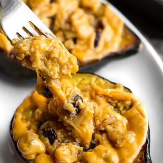 Cheezy Apple Cranberry Quinoa Stuffed Squash