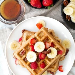 light & crisp flourless oatmeal waffles