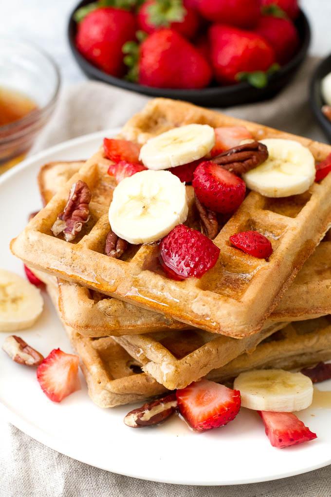 Light & Crisp Flourless Oatmeal Waffles | running with spoons