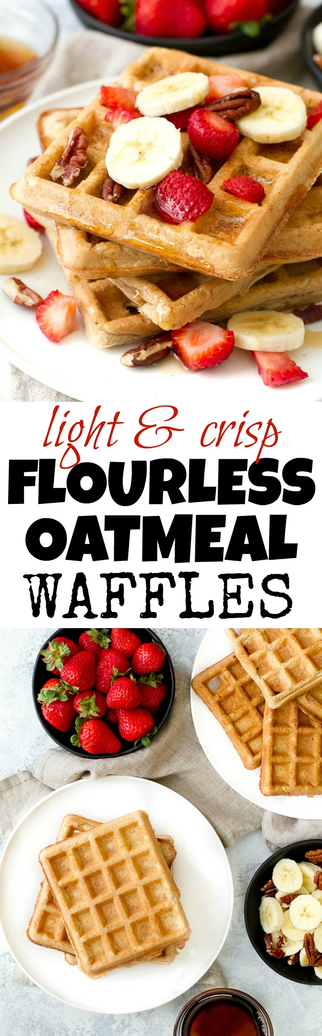 Flourless oatmeal waffles that are crispy on the outside, fluffy on the inside, and crazy easy to make! | runningwithspoons.com