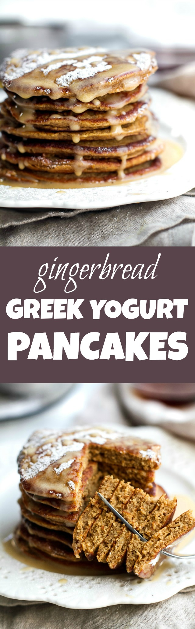 These light and fluffy Gingerbread Greek Yogurt Pancakes are sure to keep you satisfied all morning with over 20g of whole food protein! They're gluten-free thanks to the oats, whipped up in the blender in under 5 minutes, and LOADED with sweetness and spice | runningwithspoons.com