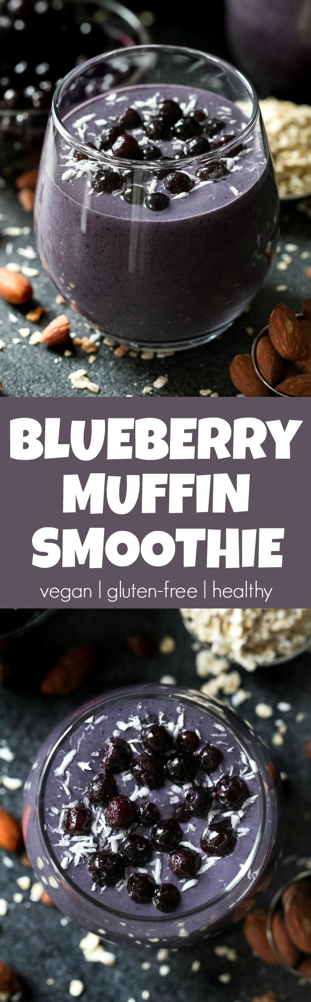 Cool, creamy, and ridiculously comforting! This Blueberry Muffin Breakfast Smoothie uses oats and almond butter to give it a subtle doughiness that pairs perfectly with the fresh and vibrant flavours blueberries and bananas. | runningwithspoons.com