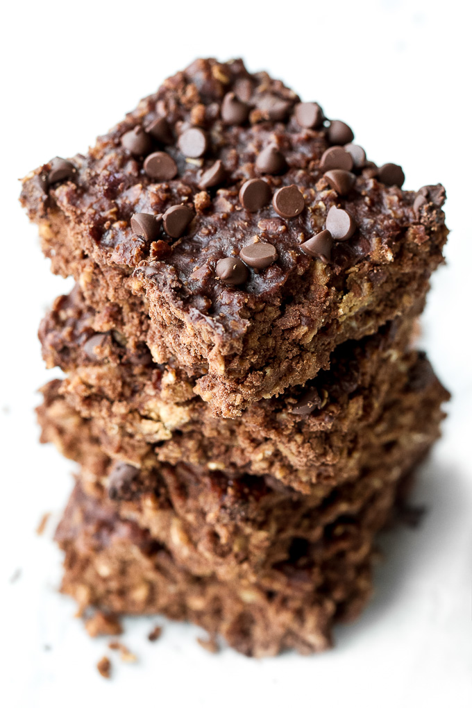 Enjoy the taste of brownies for breakfast with these healthy brownie breakfast bars! Naturally sweet and loaded with chocolate flavour, they're a delicious way to start your day or to pull out whenever you need a satisfying snack {vegan, gluten-free}   runningwithspoons.com