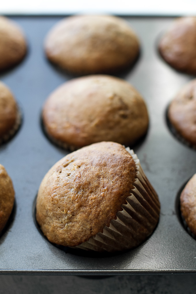 Healthy one banana muffins to help you use up that last overripe banana! These tender oil-free muffins are made with just 7 ingredients and make a healthy breakfast or snack! | runningwithspoons.com