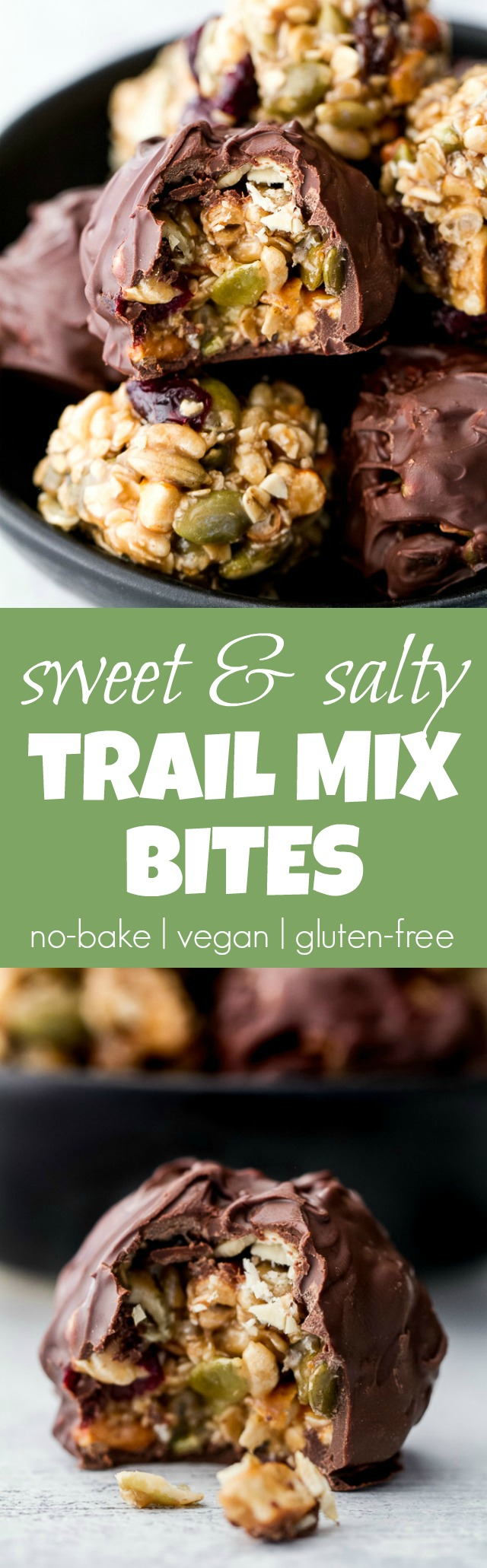 Sweet, salty, chewy, and crisp, these no-bake trail mix bites are sure to satisfy any craving! Gluten-free, nut-free, and vegan, they're a healthy snack that anyone can enjoy! | runningwithspoons.com