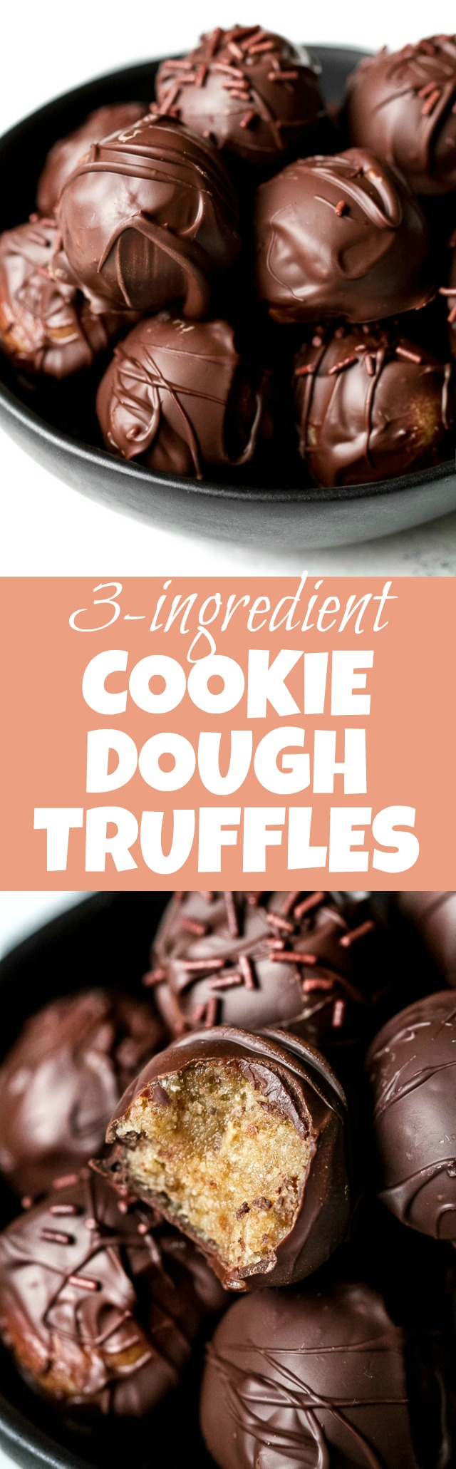 Melt-in-your-mouth 3 ingredient cookie dough truffles that taste and feel just like a decadent dessert but are made with NO grains, oil, eggs, or refined sugars. They're gluten-free, vegan, and a healthy and delicious way to satisfy those chocolate cravings!   runningwithspoons.com