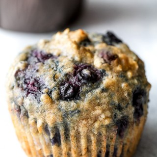 maple flax blueberry oatmeal muffins