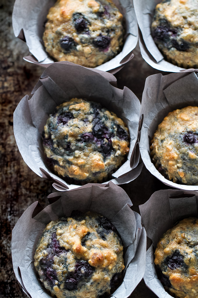 Maple Flax Blueberry Oatmeal Muffins - naturally sweetened and loaded with wholesome ingredients for a deliciously healthy breakfast or snack!   runningwithspoons.com