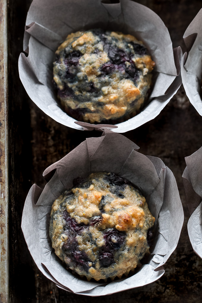 Maple Flax Blueberry Oatmeal Muffins - naturally sweetened and loaded with wholesome ingredients for a deliciously healthy breakfast or snack! | runningwithspoons.com