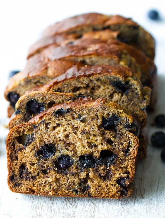 One Bowl Greek Yogurt Blueberry Banana Bread
