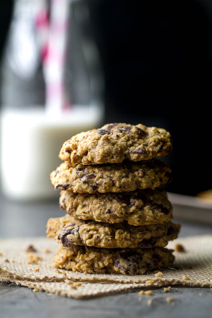 Soft, chewy, and loaded with chocolate oaty goodness! These healthy chocolate chip oatmeal cookies are made with wholesome ingredients and make a perfect snack for any time of the day! {one-bowl, vegan, gluten-free, delicious!!} | runningwithspoons.com