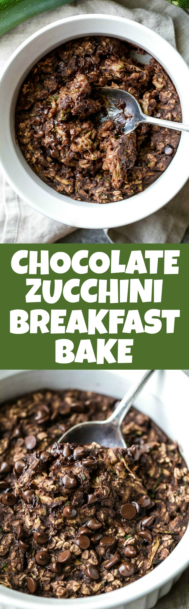 Chocolate Zucchini Breakfast Bake - loaded with fibre, healthy fats, and plant-based protein, while tasting like you're having desert for breakfast! Naturally sweetened and easily made vegan and/or gluten-free, it's a healthy and delicious way to start your day | runningwithspoons.com