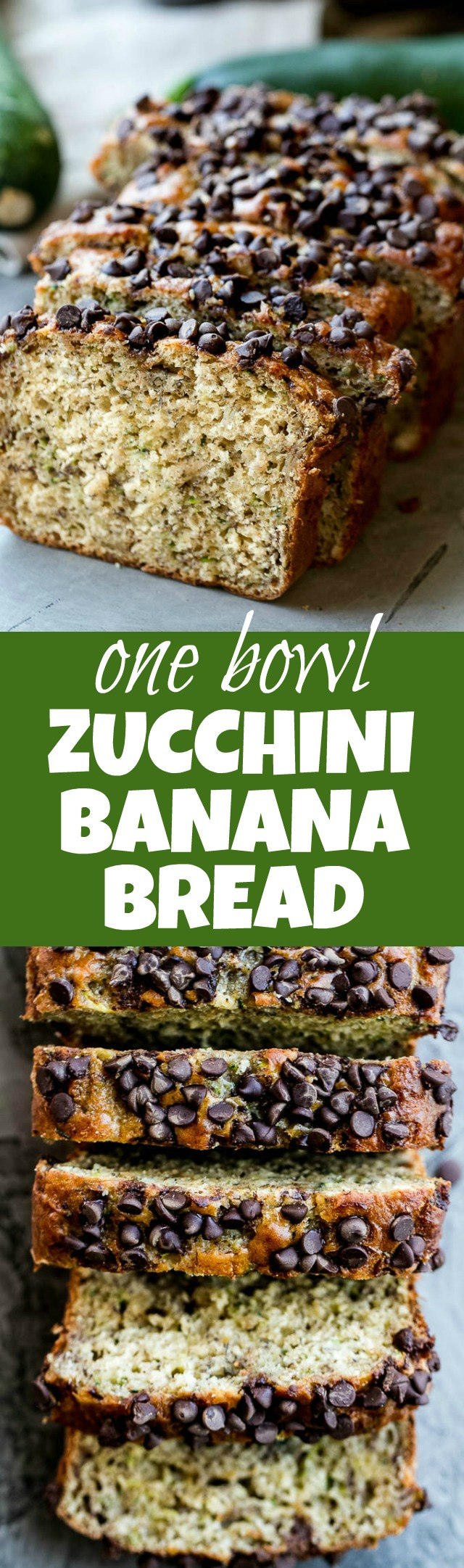 One Bowl Zucchini Banana Bread - made without butter or oil, but so tender and flavourful that you'd never be able to tell it's healthy! Greek yogurt, bananas, and shredded zucchini keep it extra moist, while a sprinkle of chocolate chips make it feel extra decadent | runningwithspoons.com