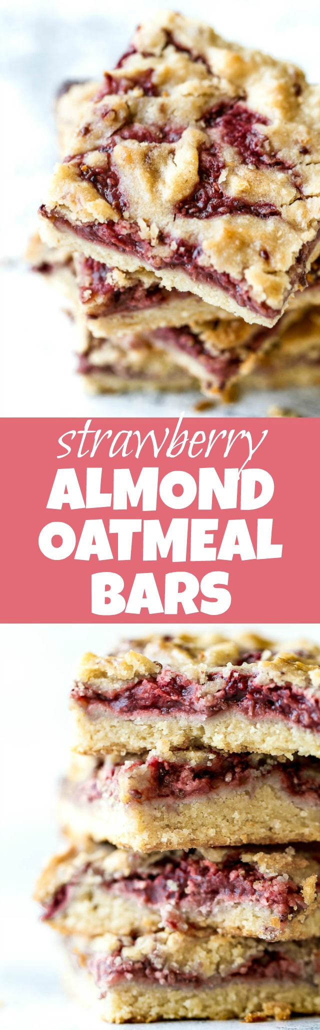 Strawberry Almond Oat Bars - so tender and buttery that you'd never guess they're made without any flour or butterl! A gluten-free combination of oats and almond flour gives them an irresistibly flaky crust, which pairs beautifully with an easy homemade strawberry chia seed jam | runningwithspoons.com