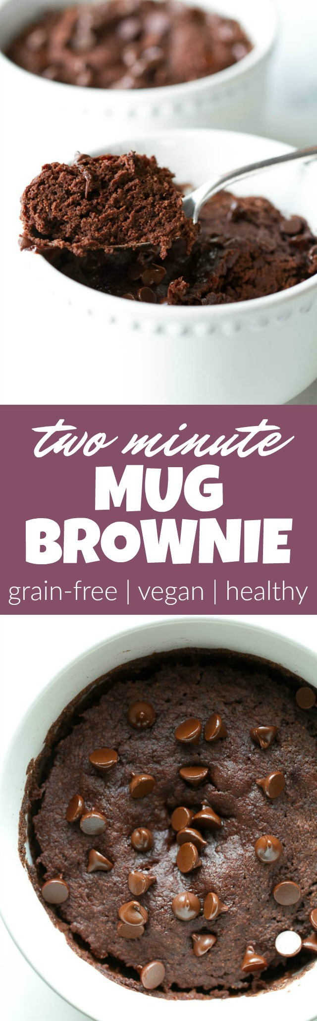 This healthy two minute mug brownie is so fudgy, moist, and chocolatey that you'd never be able to tell it's made with NO flour, butter, or oil. Satisfy those chocolate cravings with a vegan, gluten-free, and paleo treat that's super quick and easy to make | runningwithspoons.com