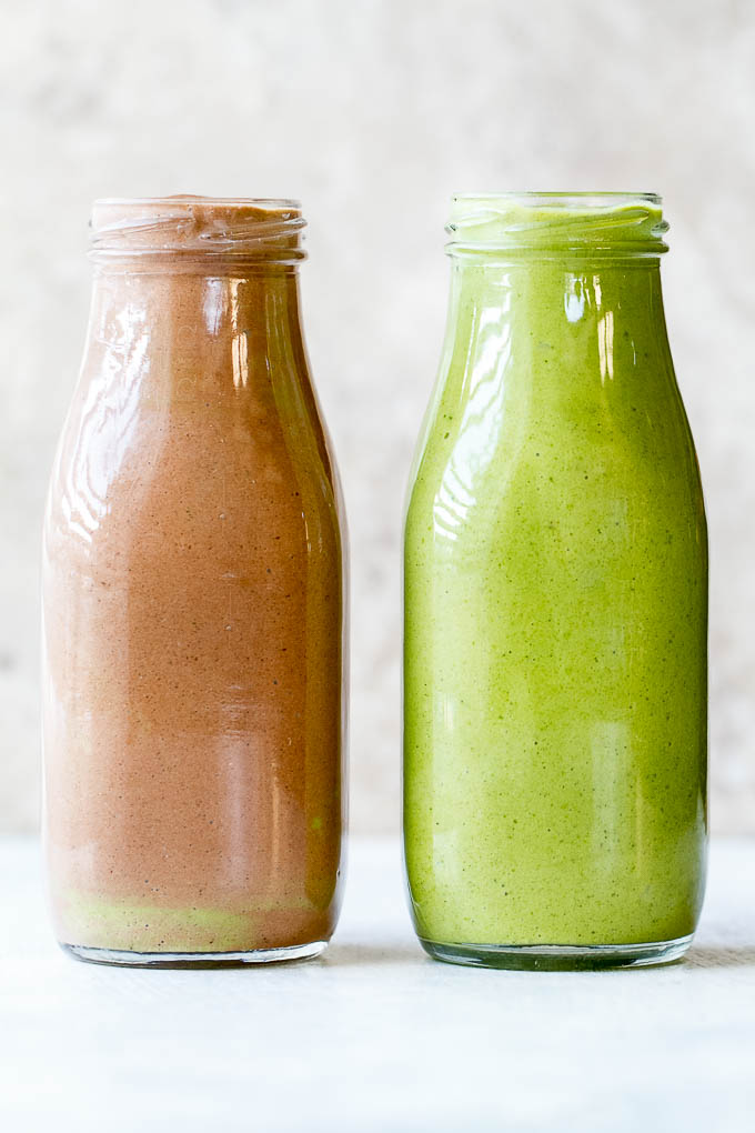 "This super creamy green smoothie is so tasty it'll have you saying ""it doesn't taste green at all!"" Packed with protein and healthy fat, it makes a nutritious and delicious breakfast or snack. Plus it's gluten-free and vegan so everyone can enjoy! 