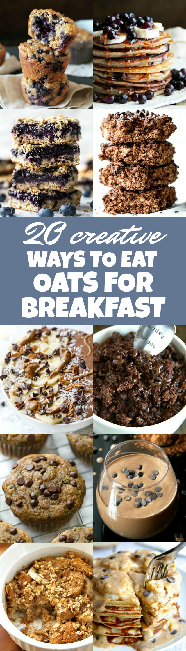 20 Creative Ways to Eat Oats for Breakfast!! Perfect for those that are tired of cooking them on the stove | runningwithspoons.com